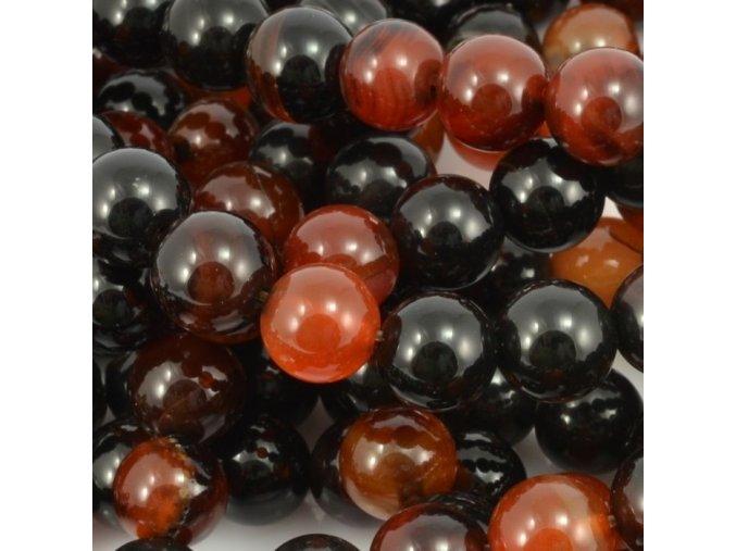 Korálek Achát červeno-černý 1ks, 10mm