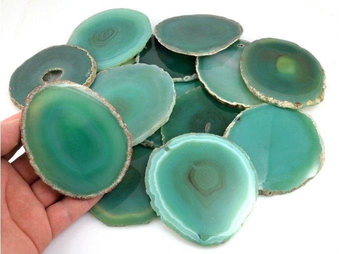 Achátový plátek zelený (8-10cm) 1ks