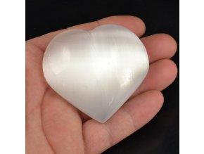Selenitové srdce bílé 1ks, (6-7cm)