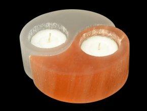Selenit svícen jing-jang, dvoubarevný