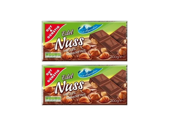 2x Gut & Gunstig Alpská mléčná čokoláda s kousky oříšků, 200g