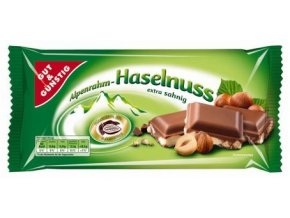 Gut&Günstig Haselnuss, mléčná čokoláda s oříšky 100g