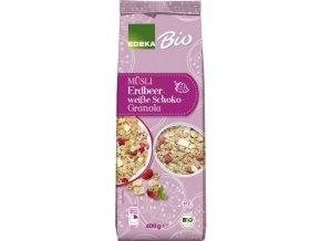 Potraviny z Německa EDEKA Bio Müsli jahoda a bílá čokoláda Granola