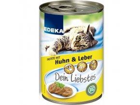 Edeka konzerva pro kočky s kuřecími játry