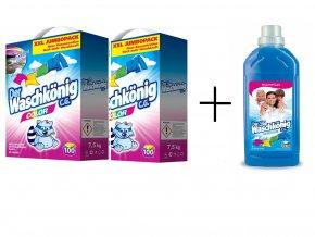 2 x Waschkönig prací prášek Color  XXL, 92 PD, 7,5 kg + Waschkönig, aviváž Winterbrise 1 litr, 28 PD