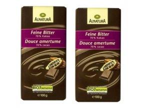 2xAlnatura BIO Hořká čokoláda 70% kakaa, 100 g
