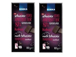 2x EDEKA Hořká čokoláda 81% kakaa, 100g