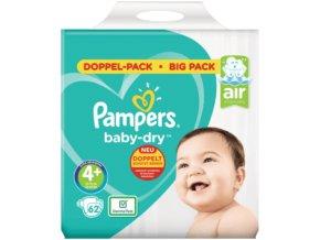 Pampers, Baby-Dry 4+ Maxi plus, dětské plenky 10-15 kg, Jumbo+ Pack, 62 ks