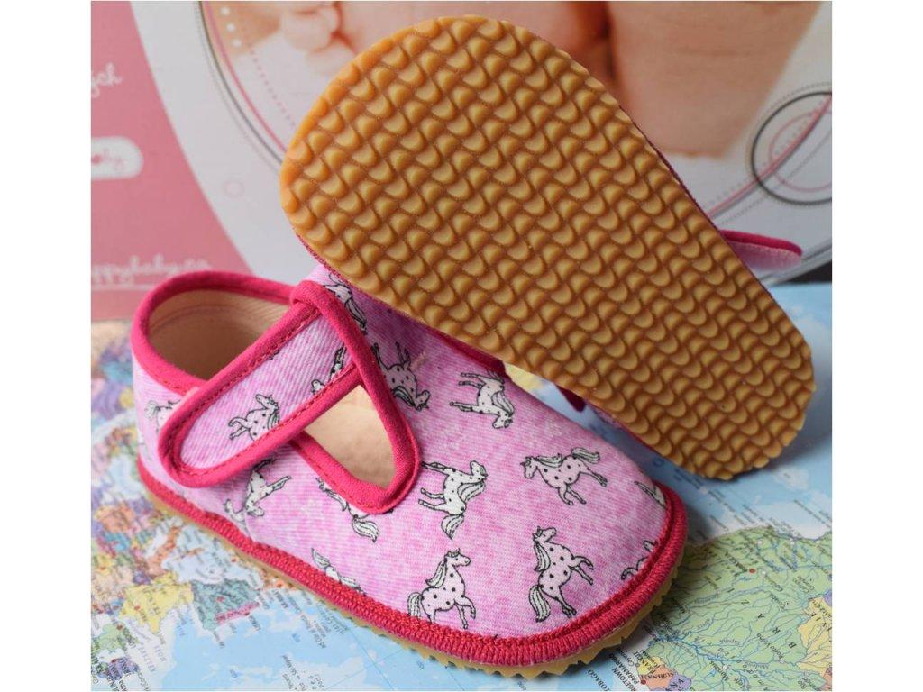 Barefoot přezůvky Beda - růžové znaky - slim