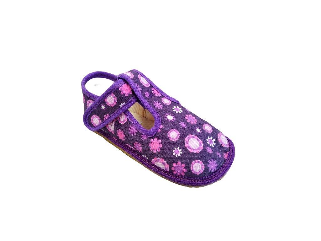 Barefoot přezůvky Beda - fialové kvítko - klasik