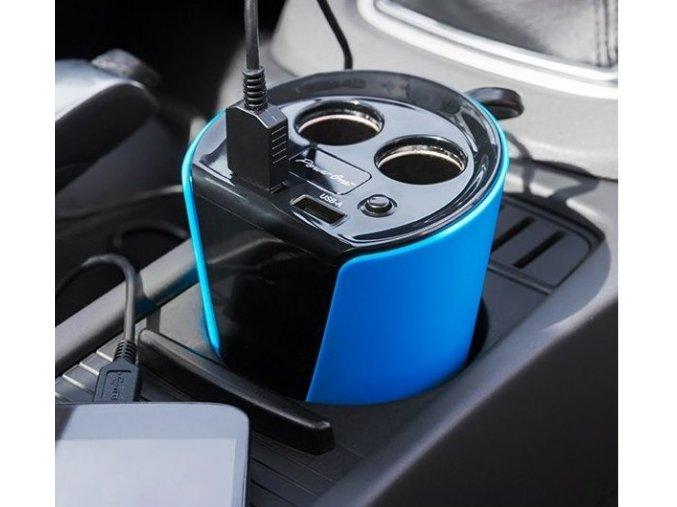 Adaptér, rozbočovač do auta do držáku na pití - 4 vstupy