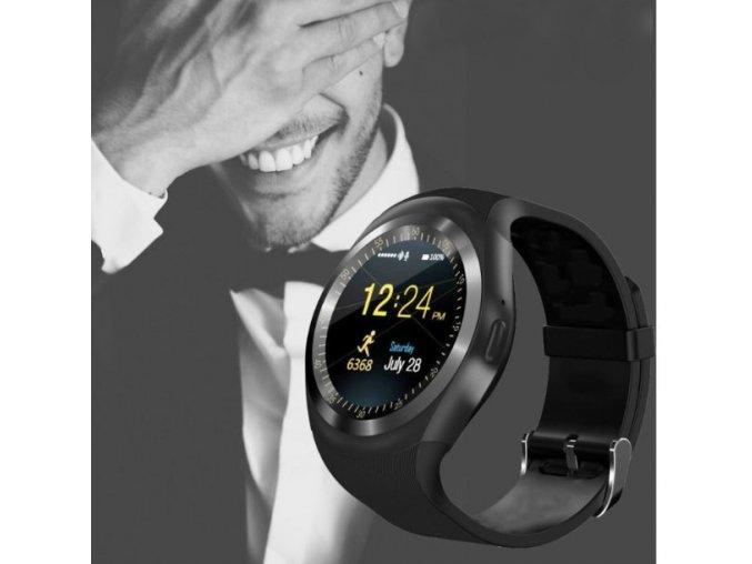 Chytré hodinky bluetooth/SIM - černá