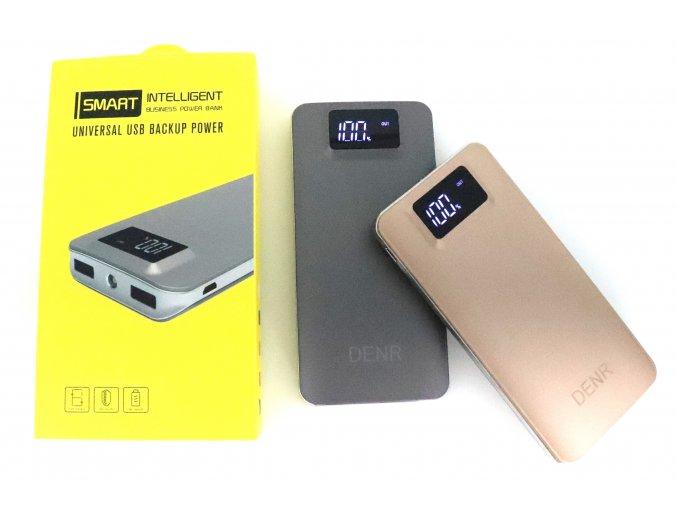 Powerbanka 20800 mAh 2x USB se svítilnou a LCD (zlatá, stříbrná)