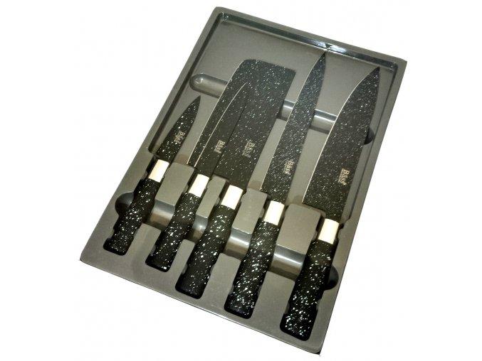 Sada 5 nožů s mramorovým keramickým povrchem.