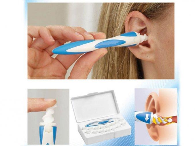 Hygienický čistič uší ve tvaru spirály + 16 silikonových hlavic