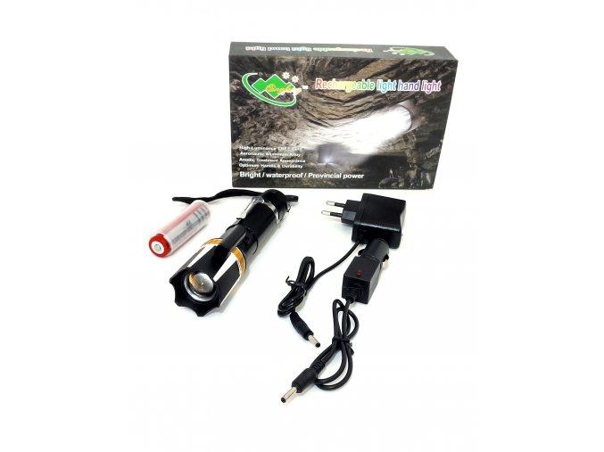 Výkonná, nabíjecí LED svítilna 202-3W laser