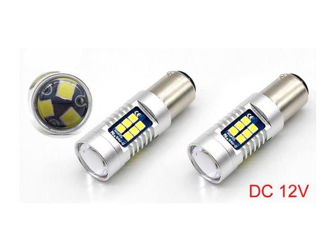Sada dvou LED žárovek 7W do auta s paticí BAY15d, SMD čip 3030, 800lm LED BAY15d 2x 1012