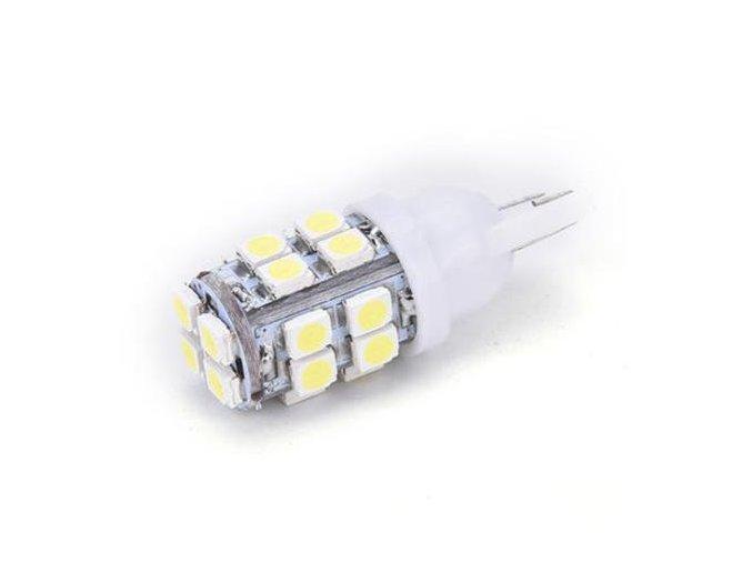 Set dvou LED žárovek 5W do auta s paticí T10, SMD čip 30528, 120lm, svit bílá  LED 2x T10-5 2835