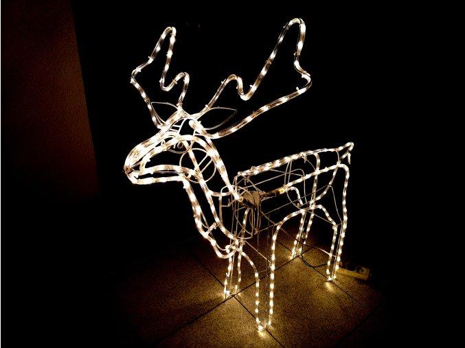 Vánoční dekorace svítící a pohyblivý sob 100 cm 250 LED - Bílá teplá