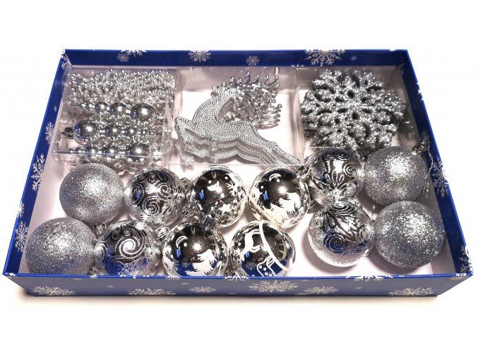 Vánoční ozdoby 31 dílná velká sada - stříbrná