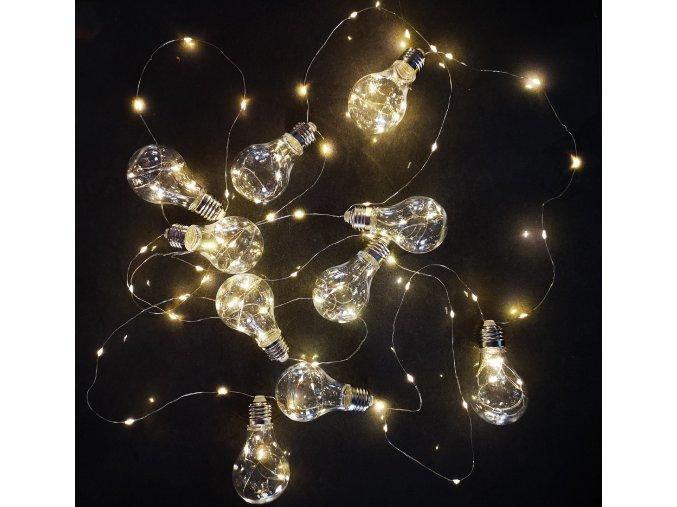 Vánoční venkovní osvětlení svítící žárovkový řetěz 6m - 120 LED - Bílá teplá