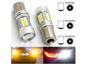 Sada dvou LED žárovek 7W do auta s paticí BAY15s, SMD čip 3030, 800lm  LED BAY15s 2x 1011