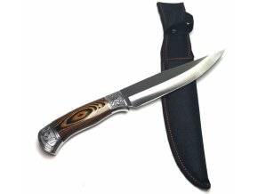 Velký nůž s ozdobnou rukojetí a pouzdrem 30 cm