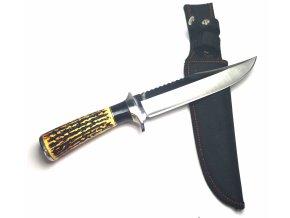 Velký lovecký nůž s pouzdrem a imitací parohu 30 cm