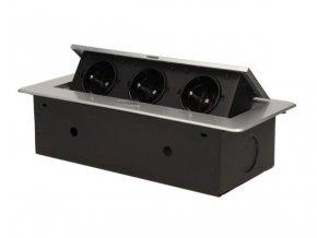 Vestavná, výklopná zásuvková skříňka - 3 zásuvky 230V - stříbrná barva ORNO AE 1336 G stříbrný