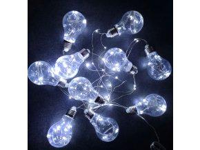Vánoční venkovní osvětlení svítící žárovkový řetěz 6m - 120 LED - Bílá