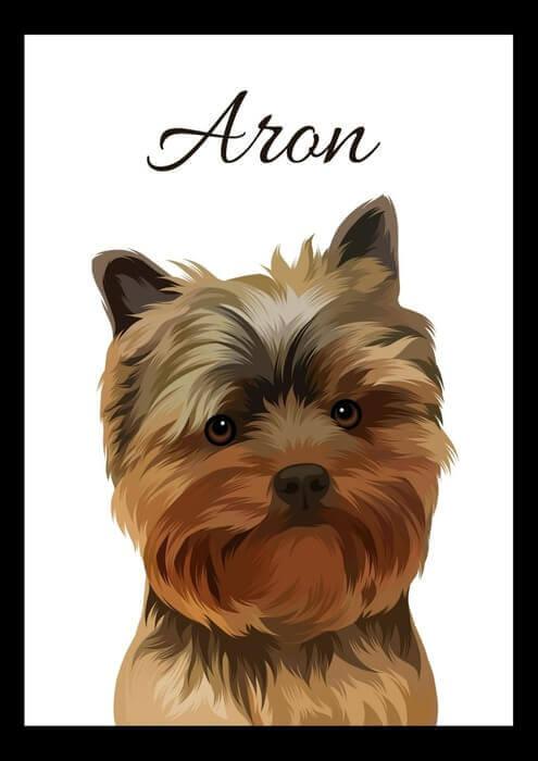 Malovaný portrét psa