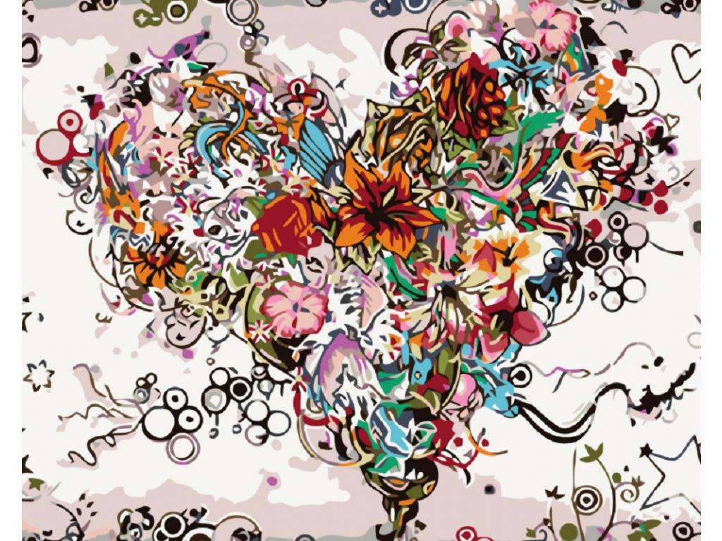 Malování podle čísel - KVĚTINOVÉ SRDCE