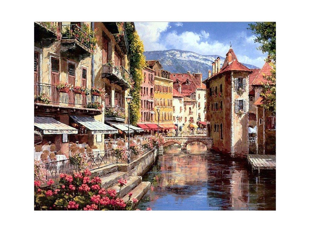 Malování podle čísel - MĚSTO NA ŘECE (Rozměr 80x100 cm, Rámování bez rámu a bez vypnutí plátna)