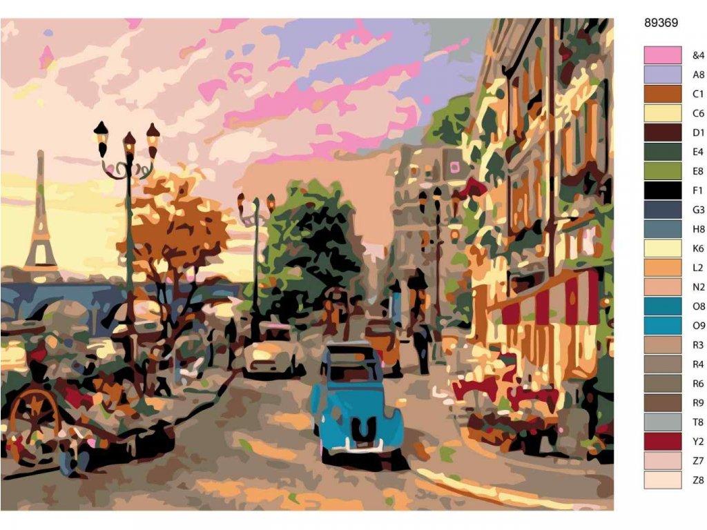 Malování podle čísel - ULICE V PAŘÍŽI (Rozměr 80x100 cm, Rámování bez rámu a bez vypnutí plátna)