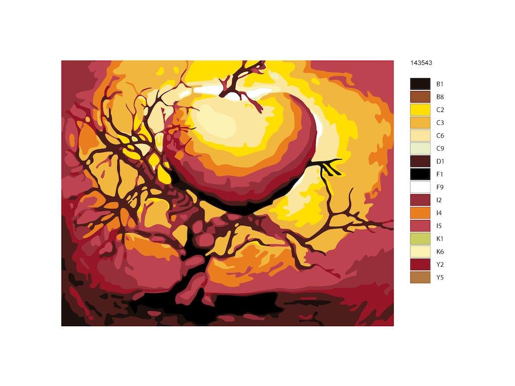 Malování podle čísel - SRDCE VE STROMĚ (Rozměr 80x100 cm, Rámování vypnuté plátno na rám)