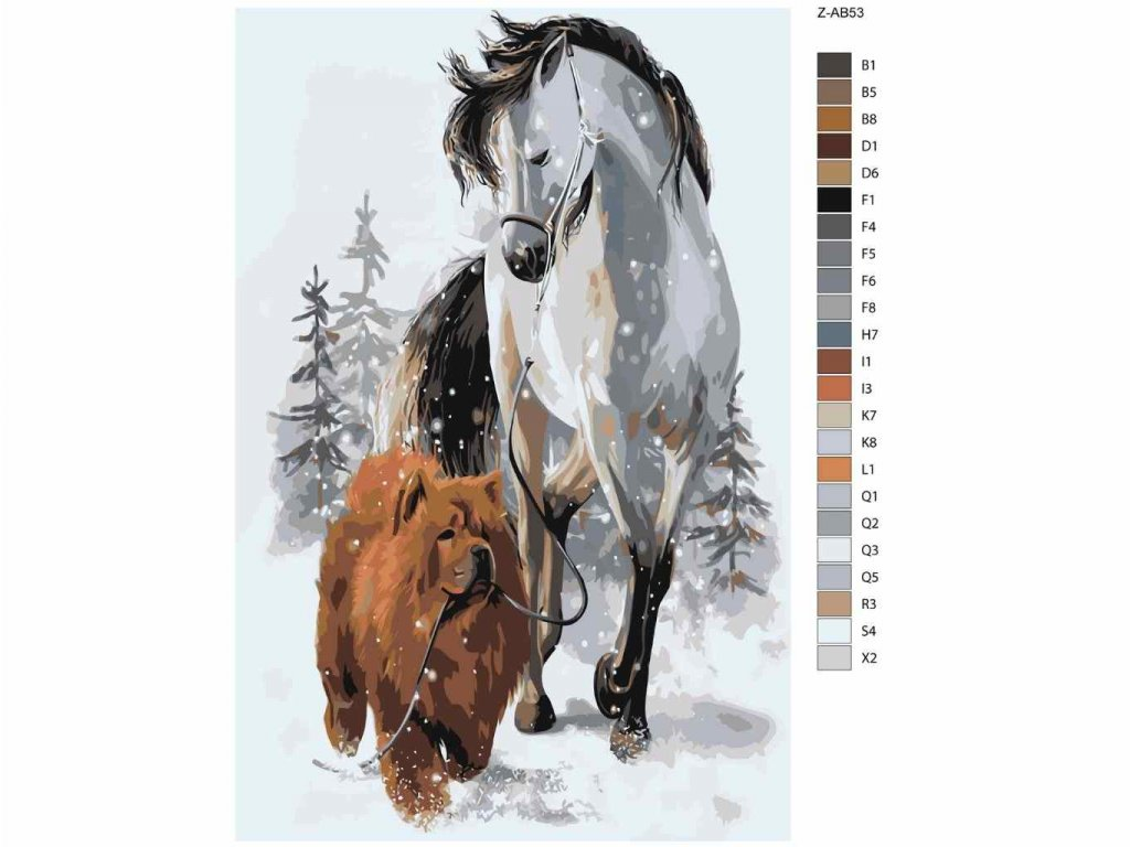 Malování podle čísel - HNĚDÝ ČAU ČAU S HŘEBCEM