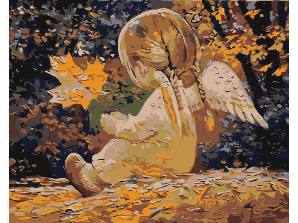 Malování podle čísel - ANDÍLEK S CULÍKY A JAVOROVÝM LÍSTKEM