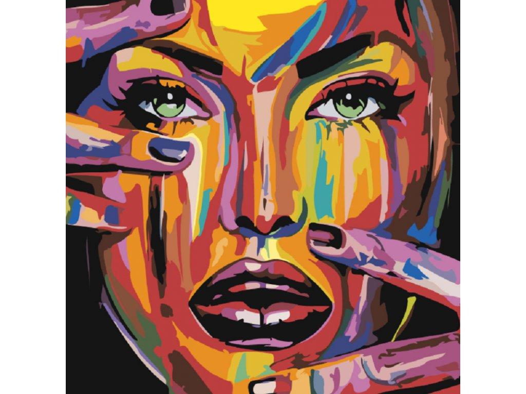 Malování podle čísel - POMALOVANÁ TVÁŘ A ZELENÉ OČI
