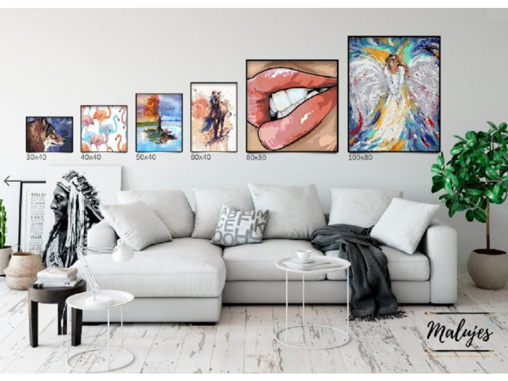 Malování podle čísel - ABSTRAKTNÍ KŮŇ MODRÝ (Rozměr 80x100 cm, Rámování bez rámu a bez vypnutí plátna)