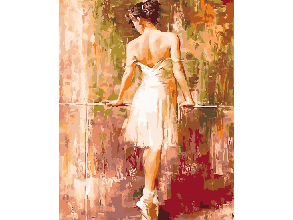 Malování podle čísel - ZASNĚNÁ BALETKA (Rozměr 80x100 cm, Rámování bez rámu a bez vypnutí plátna)