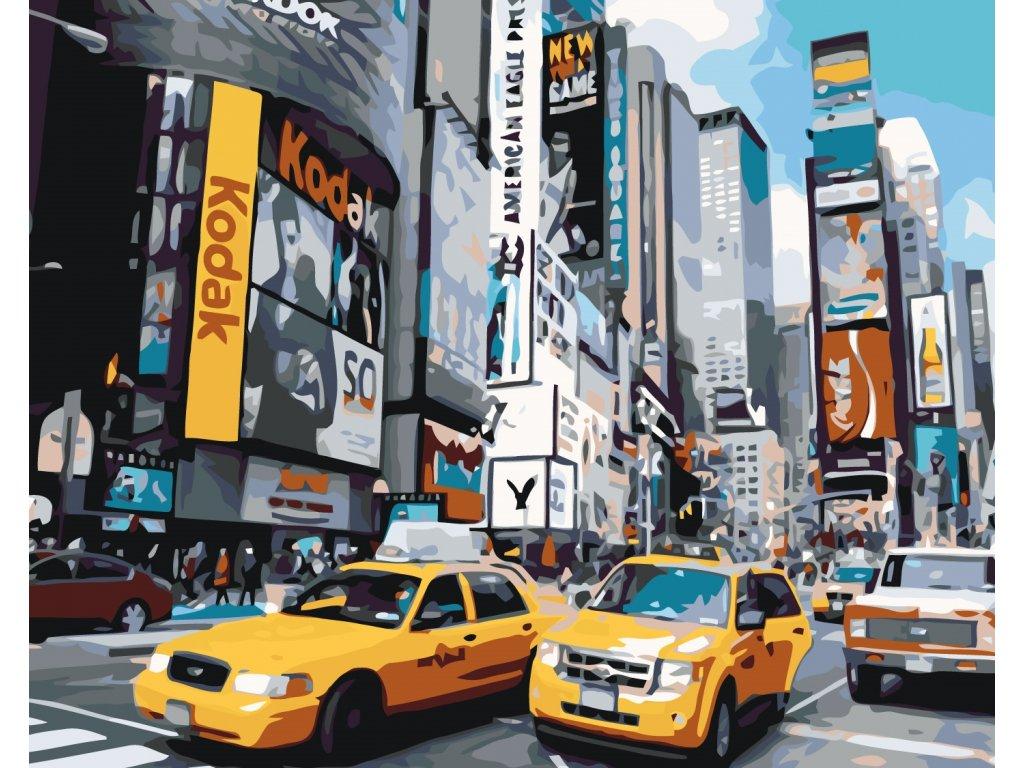 Malování podle čísel - ULICE V NEW YORKU (Rozměr 80x100 cm, Rámování bez rámu a bez vypnutí plátna)