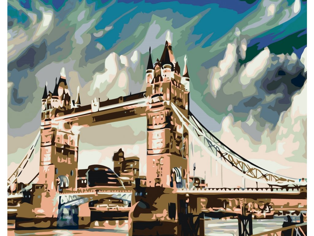 Malování podle čísel - OSVÍCENÝ TOWER BRIDGE (Rozměr 80x100 cm, Rámování bez rámu a bez vypnutí plátna)