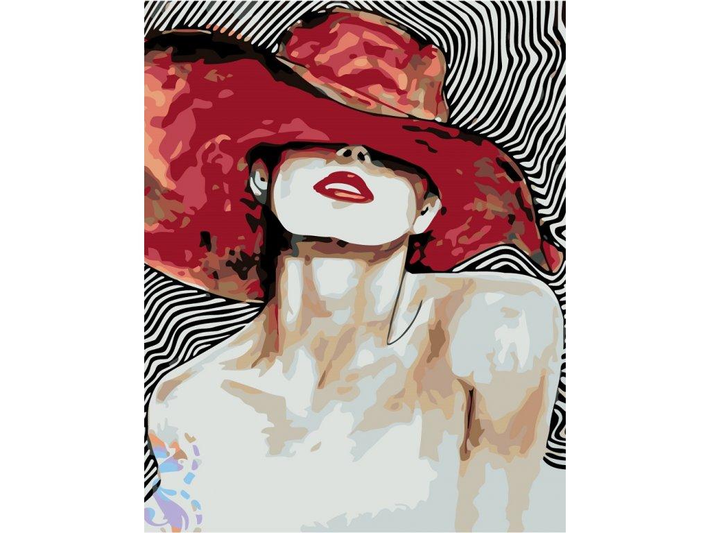 Malování podle čísel - KRÁSNÁ ŽENA S VELKÝM ČERVENÝM KLOBOUKEM (Rozměr 80x100 cm, Rámování bez rámu a bez vypnutí plátna)