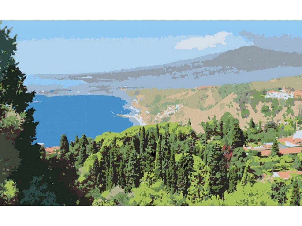 Malování podle čísel - POHLED Z LESA NA JEZERO (Rámování vypnuté plátno na rám, Rozměr 80x120 cm)