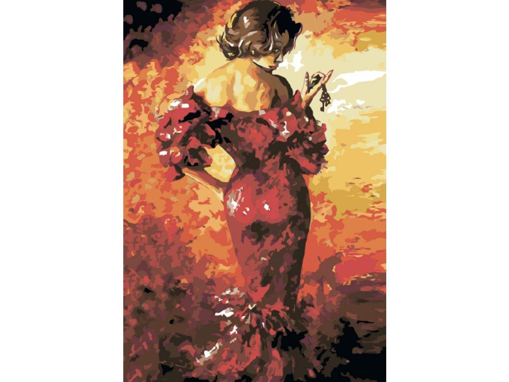 Malování podle čísel - DÁMA V RUDÝCH ŠATECH (Rámování vypnuté plátno na rám, Rozměr 80x120 cm)