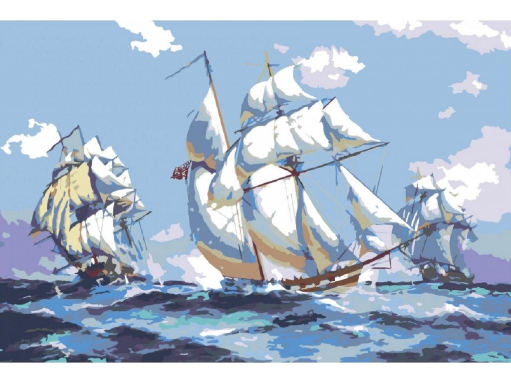 Malování podle čísel - LODĚ NA MOŘI (Rámování vypnuté plátno na rám, Rozměr 80x120 cm)