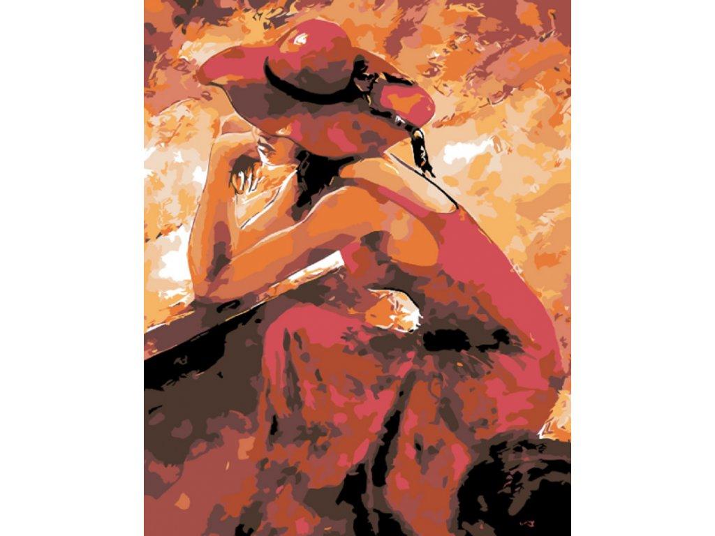 Malování podle čísel - KRÁSNÁ ZASNĚNÁ ŽENA V ČERVENÉM (Rámování vypnuté plátno na rám, Rozměr 80x100 cm)