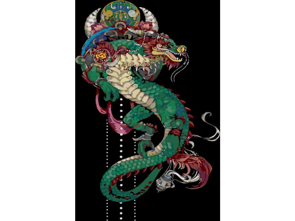 Malování podle čísel - ČÍNSKÝ DRAK (Rámování vypnuté plátno na rám, Rozměr 80x100 cm)