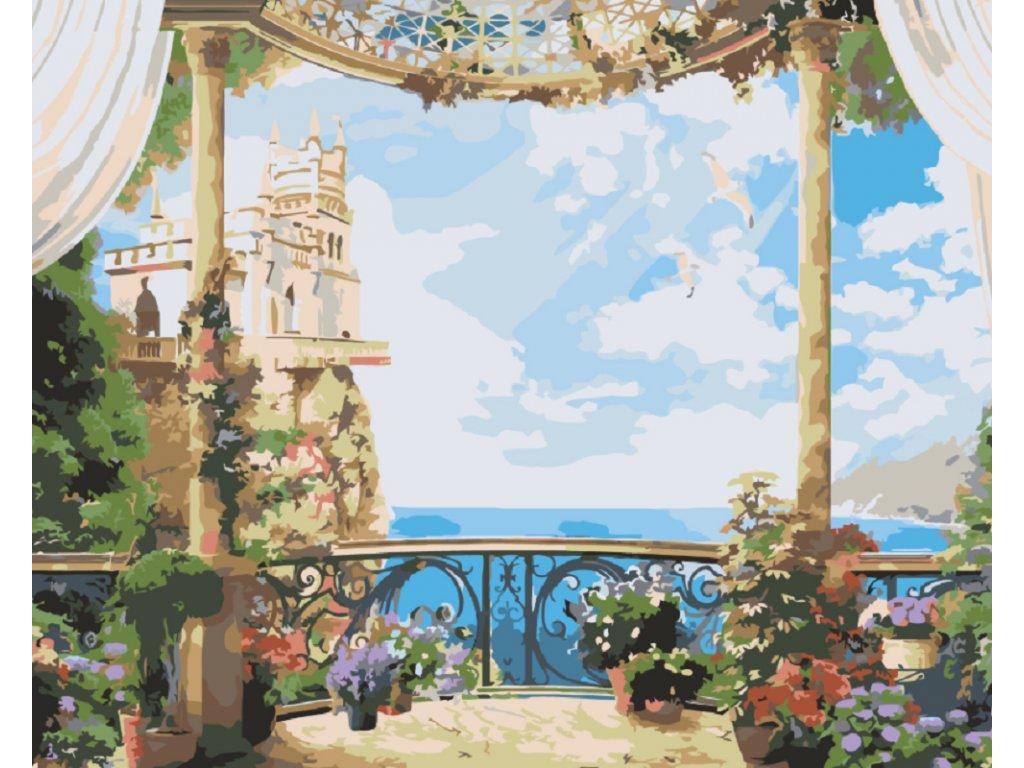 Malování podle čísel - KRÁSNÝ VÝHLED (Rámování vypnuté plátno na rám, Rozměr 80x100 cm)