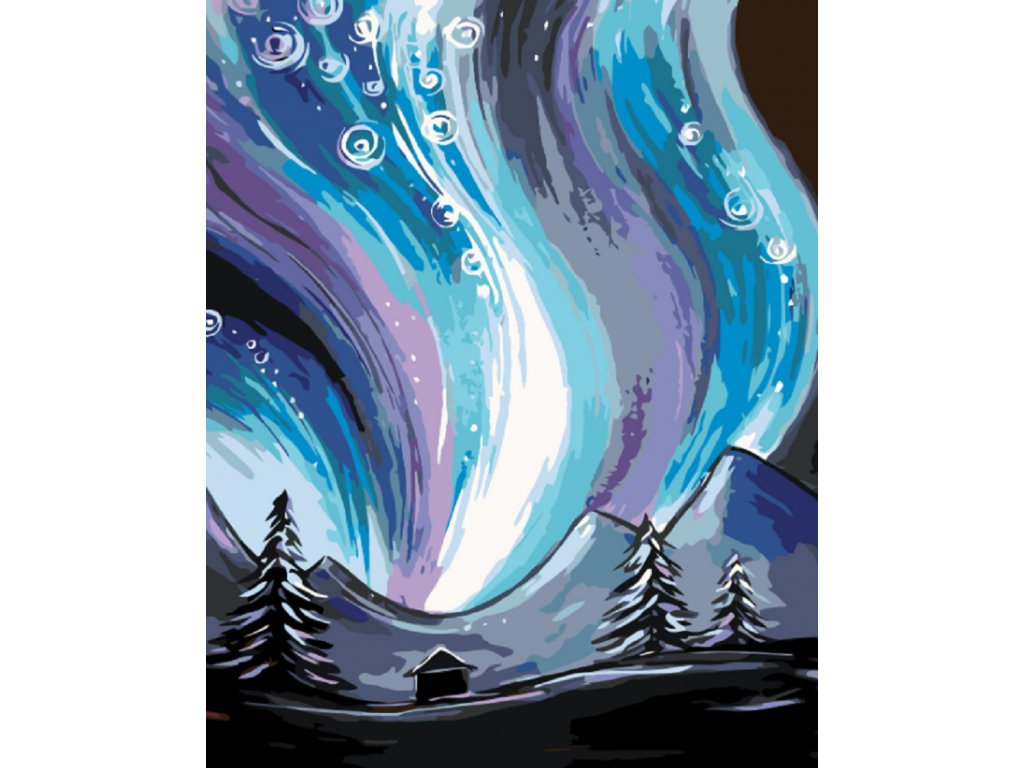 Malování podle čísel - POLÁRNÍ ZÁŘE (Rámování vypnuté plátno na rám, Rozměr 80x100 cm)